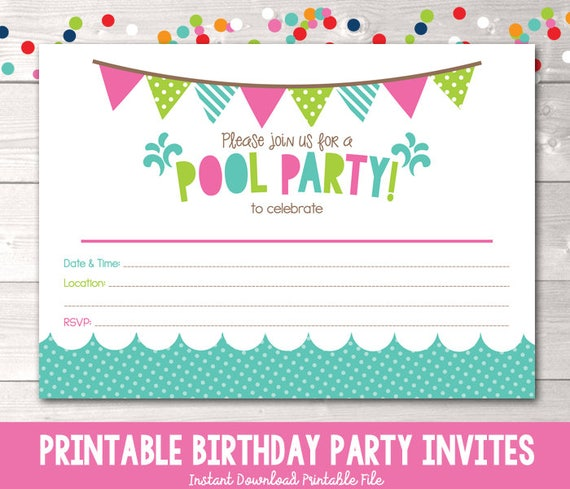 girls pool party printable invitation fill in blank invite etsy