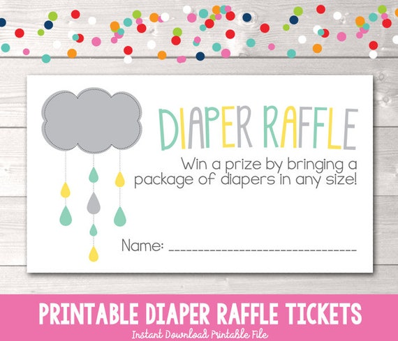 baby shower printable diaper raffle ticket pdf yellow aqua and etsy