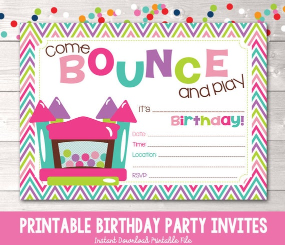 bounce house instant download birthday party invitation girls etsy