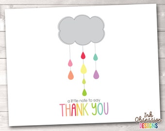 Printable Thank You Card Design - Colorful Shower Cloud