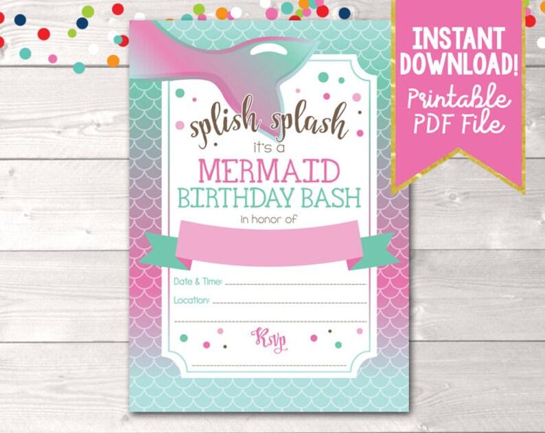 graphic about Printable Mermaid named Printable Mermaid Birthday Bash Invitation, Immediate Down load Women Mermaid Birthday Occasion Invitation, Printable PDF within Crimson Blue