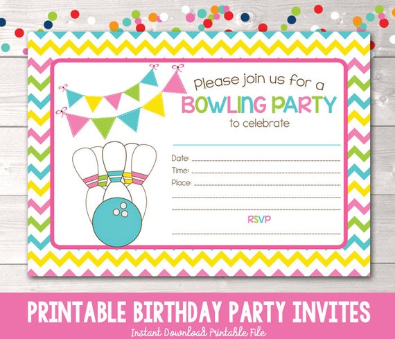 image about Printable Bowling Party Invitations identify Printable Bowling Occasion Invitation Fill inside of the Blank Birthday Celebration Invite Instantaneous Down load PDF Purple Blue Eco-friendly Yellow Chevron Stripes