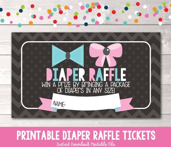 instant download printable diaper raffle tickets chevron etsy