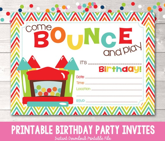 bouncy castle instant download birthday party invitation etsy