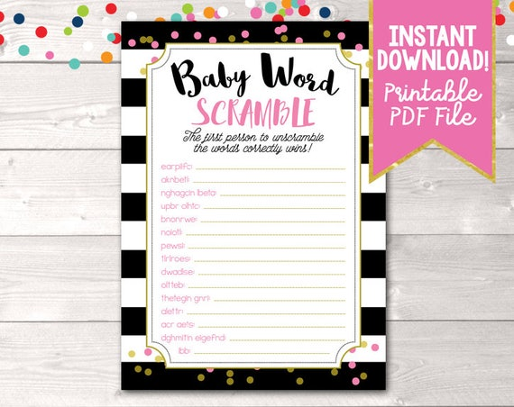 Printable Baby Shower Game Baby Word Scramble For Girls Black Etsy