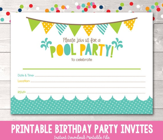 picture relating to Pool Party Printable called Pool Bash Printable Invitation Fill In just Blank Invite Blue Yellow Eco-friendly Birthday Occasion or Pool Get together Electronic Style Prompt Obtain PDF