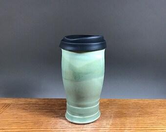 22oz , To Go Mug ,Handmade Pottery, Mug With Lid , Ceramic Travel Mug , Commuter Mug , Pottery Travel Mug , Eco Mug , Reusable Silicone Lid