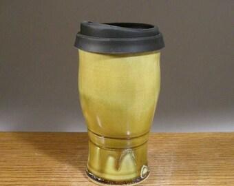 20 oz , To Go Mug ,Handmade Pottery, Mug With Lid , Ceramic Travel Mug , Commuter Mug , Pottery Travel Mug , Eco Mug , Reusable Silicone Lid