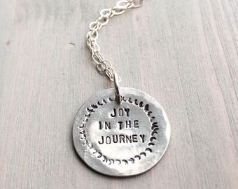 Pendant with meaning etsy joy in the journey sterling silver handstamped journey necklace circle pendant gifts with meaning holiday gifts mozeypictures Gallery