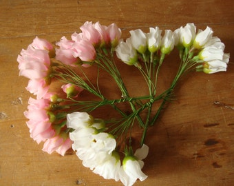 Scrapbook /& Crafts VINTAGE style Millinery ORANGE Bead flower pick//bunch Dolls