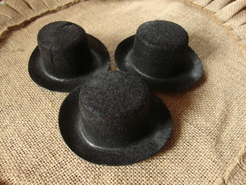 d4d561ff9 Mini top Hats, black felt, Caroler, Hat body, doll crafts supplies,  Victorian style hats, party favor, snowman, hat accessories, dolls
