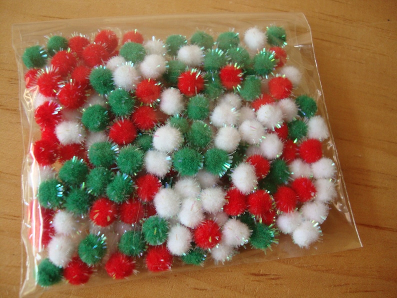Christmas Crafting Projects.Christmas Tinsel Pom Poms Mini Embellishments 1 2 Chenille Balls Red White Green Kids Crafts Supplies Christmas Crafting Projects