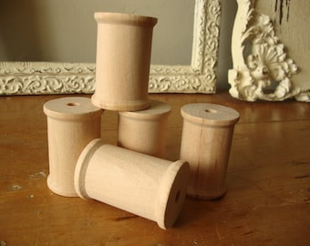 """Wooden spools for crafts bobbins 2"""" tall unfinished wood spools craft room trim holders sewing theme crafts supplies textile"""