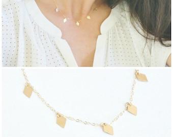Gold Diamond Fringe Necklace DN228