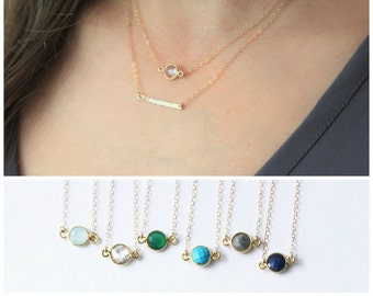 Tiny Gemstone & Petite Bar Layered Necklace Set