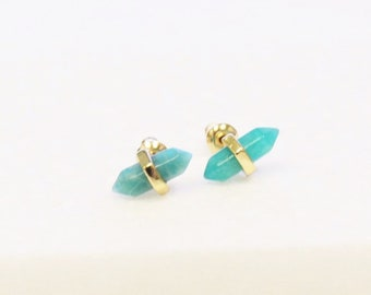 Amazonite Pointed Stud Earrings