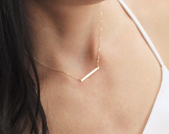 Petite Bar Necklace in Silver or Gold