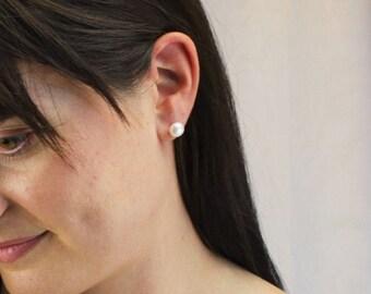 Real Pearl Stud Earrings - 8mm