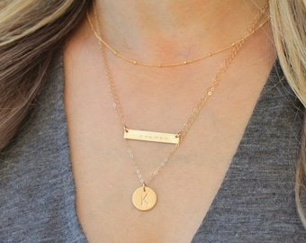 Satellite, Dainty Bar & Medium Disc Layered Necklace Set of 3