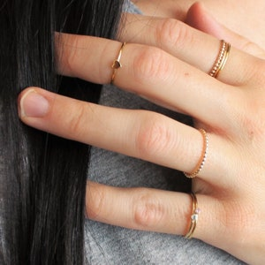 Thin Ring Dainty Ring 925 Sterling Silver Ring Stacking Ring CZ Diamond Ring for Women Jewelry Lover Gift R89