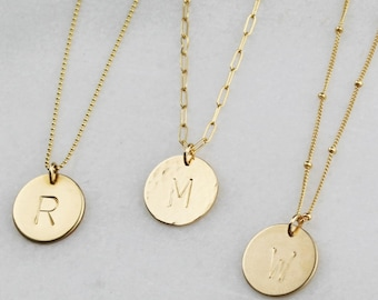 Custom Initial Disc Necklace - 16mm