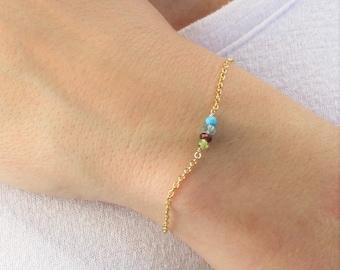 Tiny Gemstone Bracelet - Choose Up to 8 Different Gems