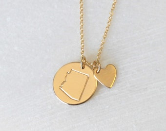 Custom State Necklace with heart charm