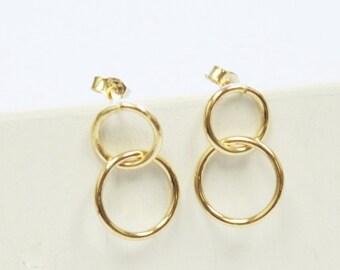 Gold Circle Stud Earrings