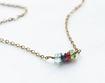 Tiny Birthstone Beaded Bar Necklace - Choose your number of birthstones