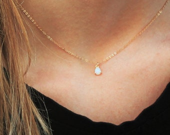 Ultra Dainty Opal Necklace, October Birthday Gift SN317