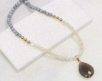 Long Pendant Necklace - Gray & Cream Jade