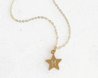 TINY star Initial Necklace