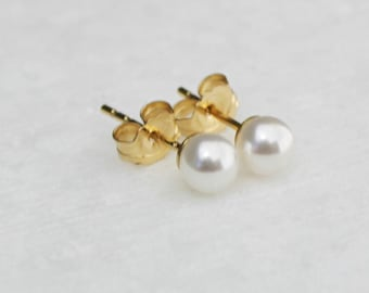 Tiny Crystal Pearl Stud, Earrings, Pearl Stud Earrings, Crystal Pearl Earrings, Wedding Jewelry, Gift for Her, Jewelry, Earrings for Women