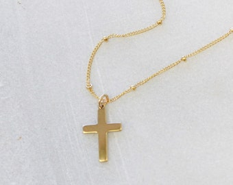 Dainty Cross Necklace in silver or gold.  Choose your chain style