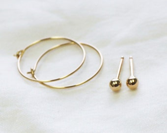 Set of 2 Earrings - Gold Studs and Hoops