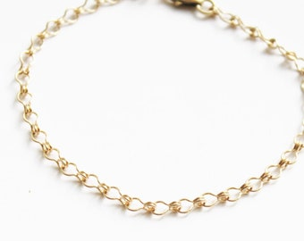 Simple Ladder Chain Gold Bracelet