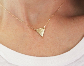 Hammered Gold Triangle Necklace DN236