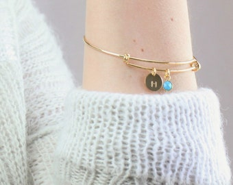 Bangle Bracelet Personalized Disc and Birthstone Charm