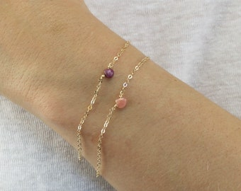 Birthstone Bracelet in Gold or Silver.  Choose your Birthstone