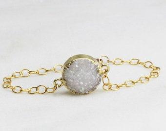 Round Druzy Bracelet, Raw Crystal & Gold Bracelet