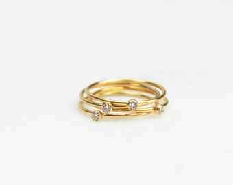 Gifts For Women, Gift for Wife, Tiny CZ Dainty Ring, Stacking Ring, Dainty Ring, Gift for her, by The Silver Wren, Minimal rings for women
