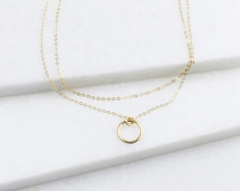 Ultra Dainty Layered Necklace set of 2, Minimal Necklace, Ring Gold Necklaces, Gifts for Women, Minimal Jewelry, Gift for Her, Jewelry Gift
