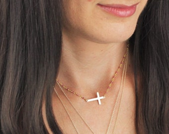 Cross Necklace, Religious Gifts, Gift for Women, Necklace for Women, Religious Jewelry, Gold Necklace, Gift for her, The Silver Wren Jewelry