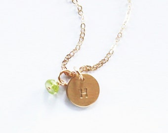 Petite Initial Necklace with Tiny Birthstone Charm