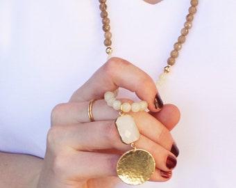 Long Stone Necklace- Tan, Olive & Cream Jade