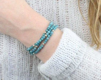 Apatite or Moonstone Wrap Bracelet