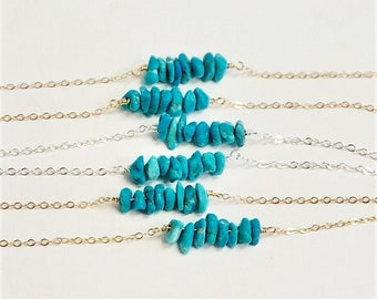 Real Turquoise Chip Necklace