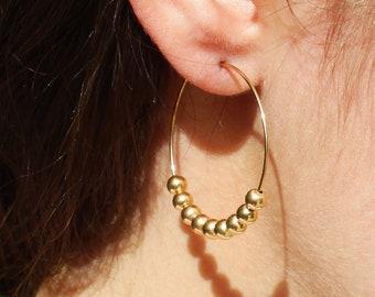 Beaded Medium Hoop Earrings
