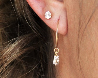 Small CZ Hoop Earrings - Aura Collection