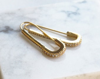 Gold Safety Pin Hoop Earrings